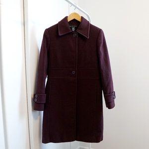 New York & Company Burgundy Wool Blench Peacoat
